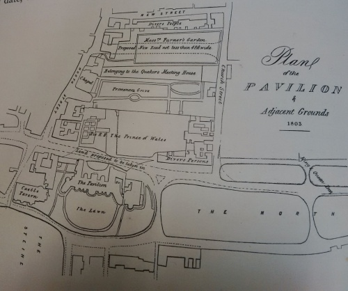 """Proposed New Road """"not less and 48ft wide"""" shown between Messrs Furner's Garden and land belonging to the Quaker's Meeting House which the Prince bought for £800. Map copied from """"The History of the Royal Pavilion"""" Henry D Roberts."""