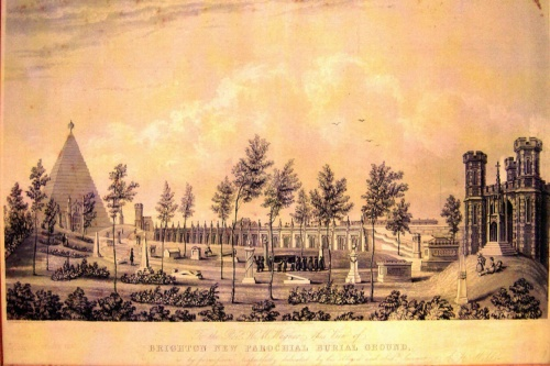 A Gazetteer of St Nicholas Burial Ground.  The St Nicholas Rest Garden, opened 1841 - Brighton's new parochial burial ground as envisaged by Amon Henry Wilds (the pyramid was never built).  Unfortunately public health legislation enacted to curtail cholera and other epidemic diseases prohibited burial in St Nicholas from around 1854.  As a consequence its vaults and underground burial chambers were never fully occupied.