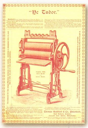 Wringers and mangles squeezed the wet out of newly-washed clothes via two rollers. Many new Victorian models were introduced, such as the 'Ye Tudor' mangle, 1889