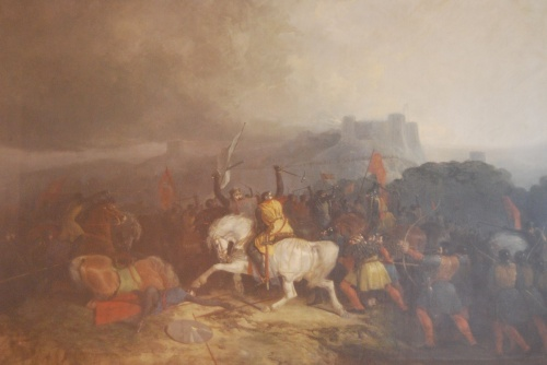 Picture by Hardy, displayed in Lewes Town Hall.  Rebellious barons under Simon de Montfort, Earl of Leicester vs. royal troops under Henry III.  Reproduction courtesy of Lewes Town Council.