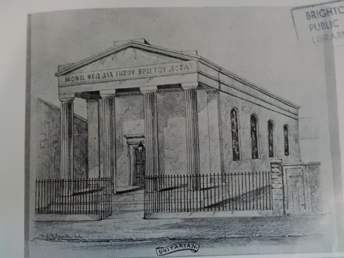 Circa 1888, William Dallaway, a member of the church, became the first member of the newly founded Brighton Equitable Co-operative Society.   George Jacob Holyoake, the eminent pioneer of the co-operative movement, was also a member of the congregation. Image courtesy of Royal Pavilion & Museums, Brighton & Hove.