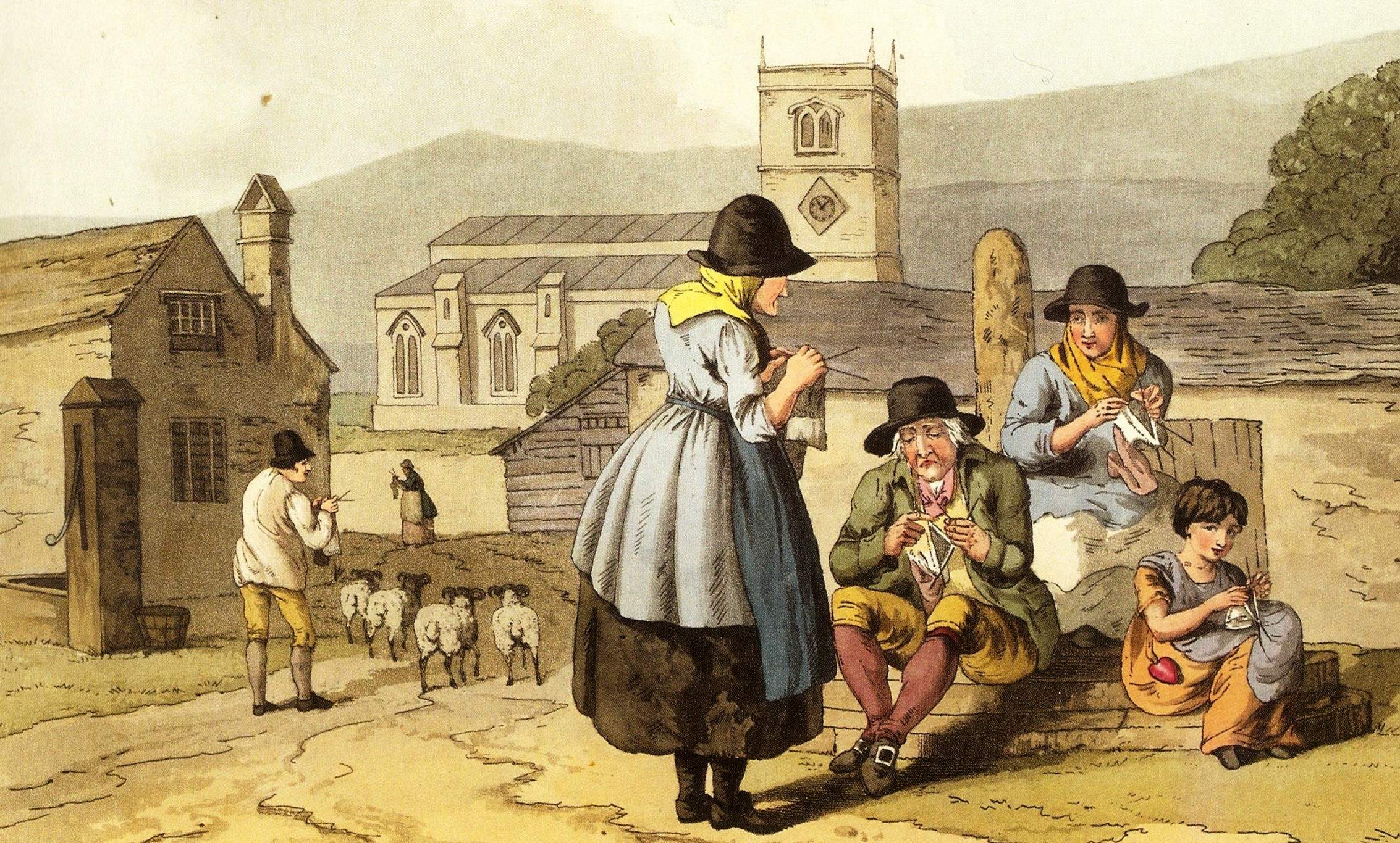 The women, men and children of some communities all knitted whenever they could, as seen in The Costume of Yorkshire by George Walker, 1814.