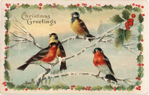 Robins symbolising the red-coated Royal Mail postmen (nicknamed 'robin redbreasts') 