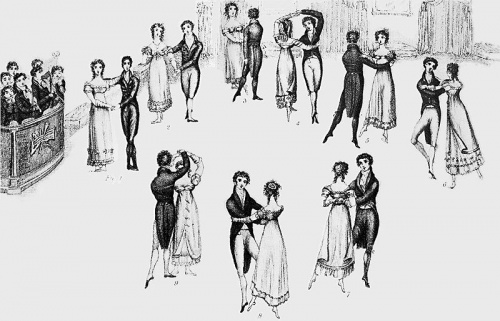 Detail from 1816 frontispiece to Thomas Wilson's Correct Method of German and French Waltzing (1816), showing nine positions of the Waltz, clockwise from the left. At that time, the Waltz was a relatively new dance in England, and the fact that it was a couples dance (as opposed to the traditional group dances), and that the gentleman actually clasped his arm around the lady's waist, gave it a dubious moral status in the eyes of some. 