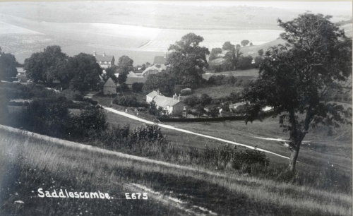 Copyright National Trust.  Saddlescombe from the road.