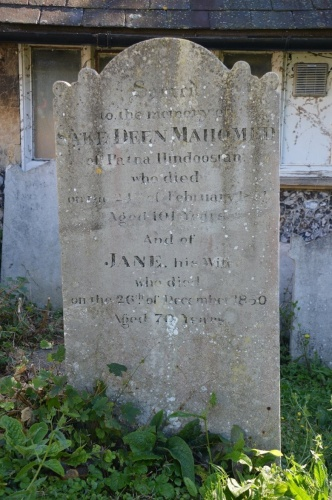 "Mahomed's grave marker in St Nicholas' churchyard. It reads ""Sacred to the memory of SAKE DEEN MAHOMED of Patna Hindoostan who died on the 25th of February 1851 aged 101 years and JANE his wife who died on the 26th of December 1850 aged 70 years. Photo by Tony Mould, printed courtesy of www.mybrightonandhove.org.uk"