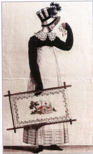 By the Georgian period, privileged women spent much of their time embroidering pictures and dress items. This Regency fashion plate dates to 1814