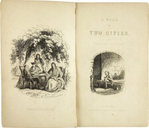 The title page of the first edition of the novel, published by Chapman and Hall in London, 1859. Illustrations by H. K. Browne. Public domain.