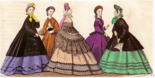 This fashion plate, 1863, shows gowns in 'crude' aniline colours, including toxic arsenic green and 'Perkin's mauve', which caused a bright purplish-red skin rash