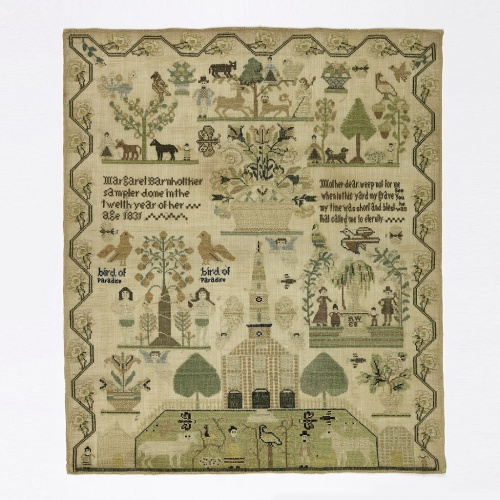 Embroidered samplers date back to the 1600s: this example was stitched by a 12-year old girl in 1831