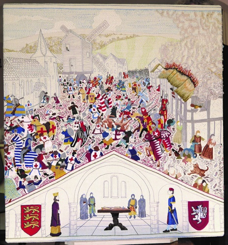 Tapestry panel 3. The Barons War, as the conflict became known, was not over after Lewes. Prince Edward escaped from his captivity and routed and killed de Montfort at The Battle of Evesham in 1265.